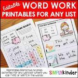 Editable Word Work Printables for Any List