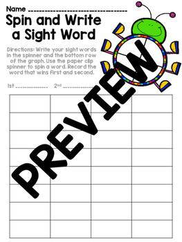 Editable Word Work - Spin and Write