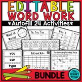 Editable Word Work :  THE BUNDLE