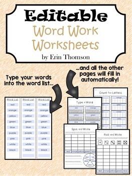 Editable Word Work Worksheets