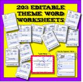 Editable Word Worksheet - Theme Focus - 203 Bundled Together