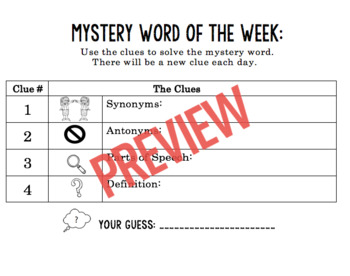 Editable Word and Number of the Day/Week