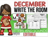 Editable Write The Room Letters and Sounds - December