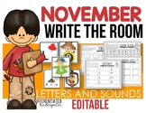 Editable Write The Room Letters and Sounds - November