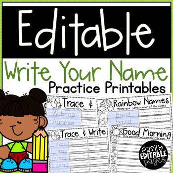 Editable Write Your Name Printables for Kindergarten or Special Education