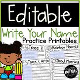Name Writing Practice Editable Printables