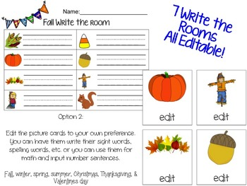 7 Seasonal & Holiday Editable Write the Room
