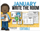 Editable Write the Room Letters and Sounds - January