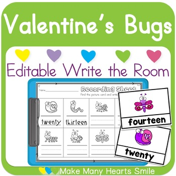 Editable Write the Room: Valentine's Day Bugs