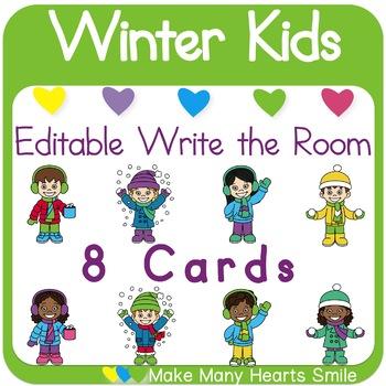 Editable Write the Room: Winter Kids