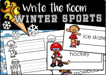2018 Winter Sports Write the Room (Editable)