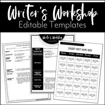 Editable Writer's Workshop Lesson Plans | Editable Year at a Glance