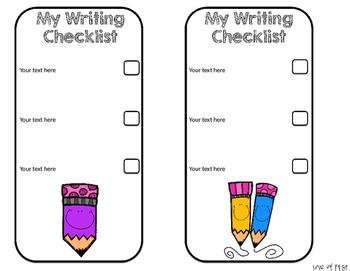 Editable Writing Checklists