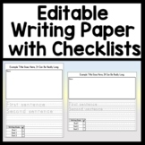 Editable Writing Checklists {Editable Writing Paper with 3, 4, or 5 Goals}