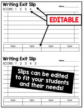 Editable Writing Exit Slips