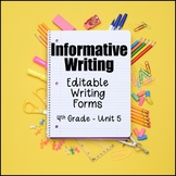 Editable Writing Forms {Informative Writing - Unit 5 - 4th Grade}