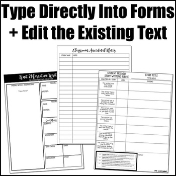 Editable Writing Forms {Narrative Writing-Unit 2-5th Grade}