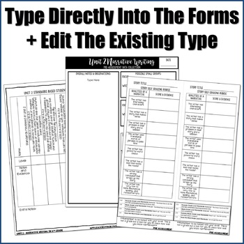 Editable Writing Forms {Narrative Writing - Unit 2 - 6th Grade}