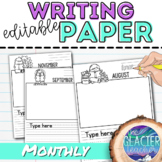 Editable Writing Paper: Monthly Readers Theme