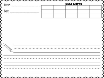 Editable Writing Paper using Sight Words