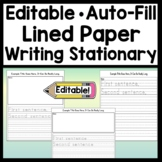 Editable Writing Paper with Picture Box {Easy Auto-Fill} {Editable Lined Paper}