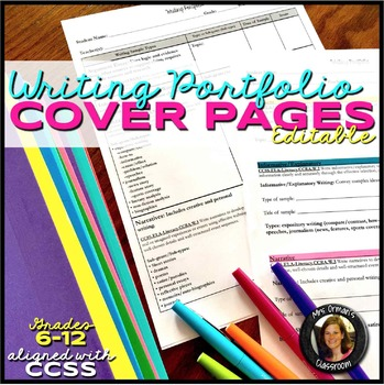 Editable Writing Portfolio Criteria Cover Sheets CCSS