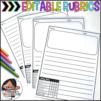 writing paper with rubric writing paper with picture box editable