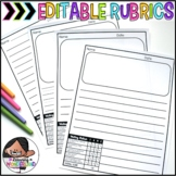 Writing Paper with Rubric | Writing Paper with Picture Box {Editable Templates}