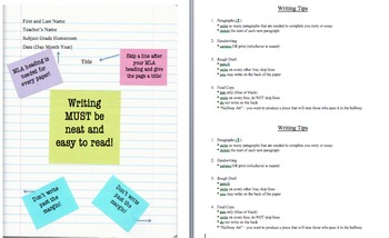 Editable Writing Tips/Notes