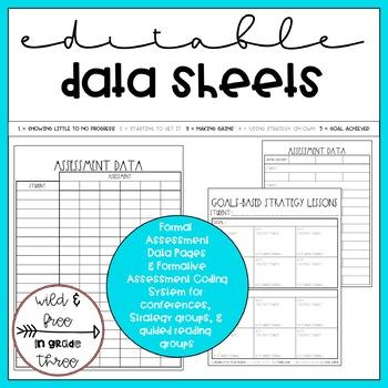 Editable Writing Workshop Conference Notes & Data Notebook / Binder