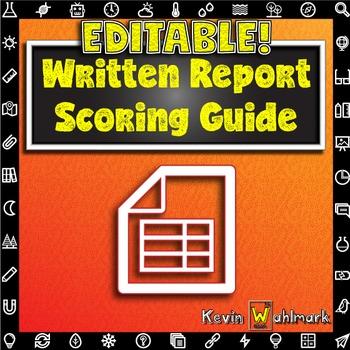 Editable Written Report Scoring Guide Rubric