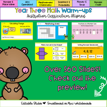 Editable Year 3 Australian Curriculum Aligned Math Warm-ups & Daily Review