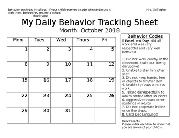 Editable Year Long Daily Report Calendar with Codes