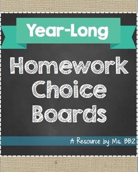 {Editable} Year-Long Homework Choice Boards - ALL SUBJECTS!
