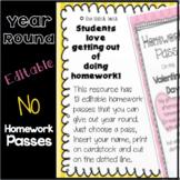 Editable Year Round No Homework Passes
