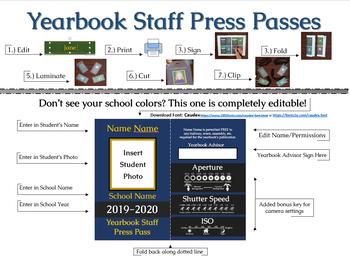 Editable Yearbook Staff Press Pass Template By Mellissa Vergason