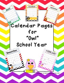 Editable Chevron Owl themed 2017-2018 Calendar