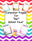 Editable Chevron Owl themed 2017-2018 Calendar