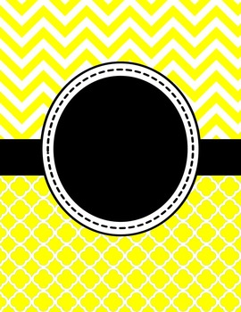 Editable Yellow Chevron and Quatrefoil Binder Cover and Spine Label