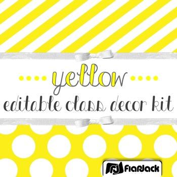 Editable Yellow Color Scheme Class Decor Kit