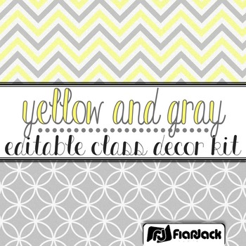 Editable Yellow Gray Class Decor Kit