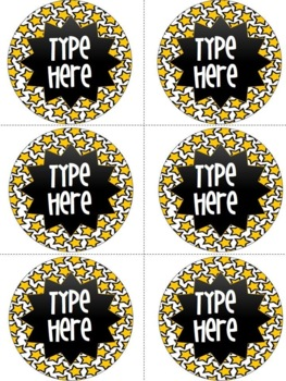 Editable Circle Labels -Yellow Star Round Labels