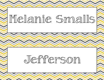 Editable Yellow/Gray Chevron Nameplates - Editable PDF - Just type the names!
