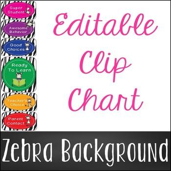 Editable Zebra Chevron Clip Chart
