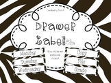 Editable Zebra Print Drawer Labels - File, Copy, Grade, Days of Week