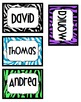 Editable Zebra Tags- Black, Blue, Green, Purple