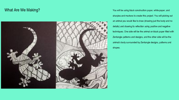 Editable Zentangle Animal Lesson Plan PowerPoint with Step by Step Pictures