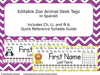 Editable Zoo Animal Desk Tags in Spanish