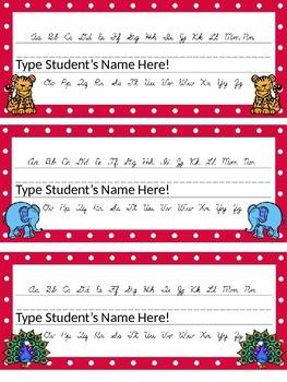 Editable Zoo Animal and Polka Dot Themed Name Desk Plates w/Cursive Letters