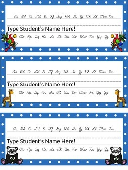 Editable Zoo Animal and Polka Dot Themed Name Desk Plates w/Cursive Letters